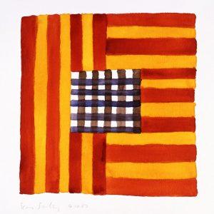 Kunstwerk bestehend aus horizontalen und vertikalen Linien, rot und orange, in der Mitte violett