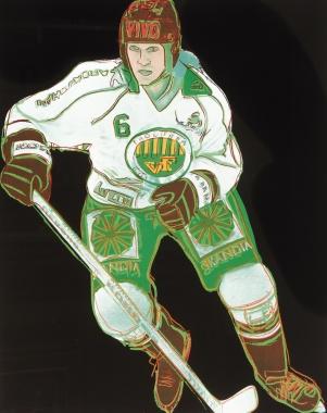Zeichnung eines Hockey Spielers in Grün-weißem Trikot von ANDY WARHOL 1986