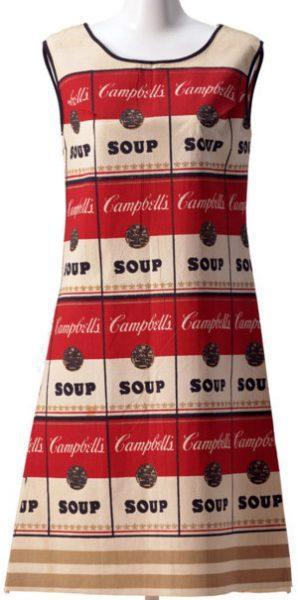 Kleid im Design aneinandergereihter Campell's Soup Dosen - ANDY WARHOL 1965