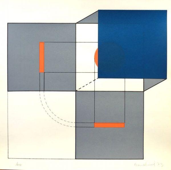 Würfelkomposition in Grau- und Blautönen mit verdecktem roten Kreis