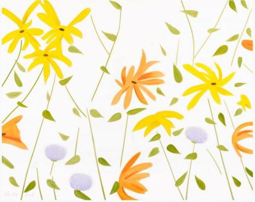 Gemälde mit gelben, orangenen und violetten Blumen auf weißem Hintergrund