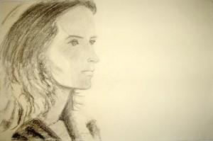 Zeichnung einer Frau in Bleistift