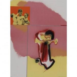 Abstraktes Bild einer Skulptur und einer Frau mit zwei Kindern auf den Armen