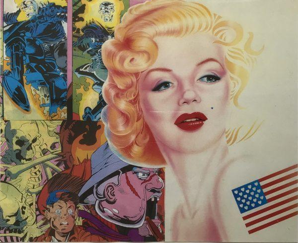 Marilyn Monroe vor Wand mit Comiczeichnungen ERRO 2001