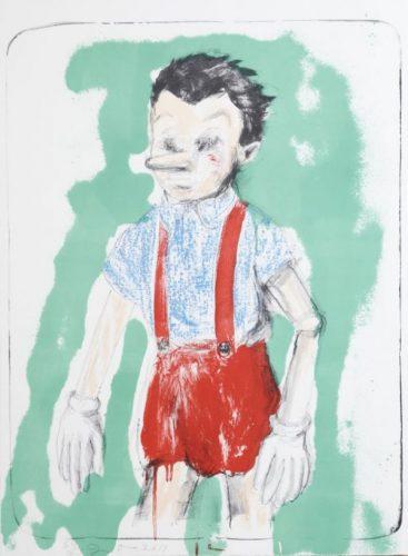 Lithografie von Pinocchio, einem Marionettenjungen mit langer Nase, vor grünem Hintergrund