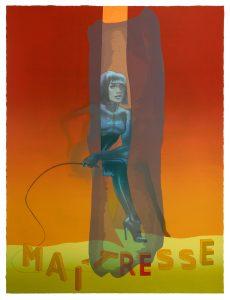 Dame mit Peitsche vor orangenem Hintergrund