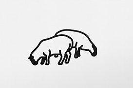 Bild von zwei Schafen, schwarze Umrisse auf weißer Leinwand