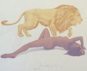 Frau und Löwe zeichnung