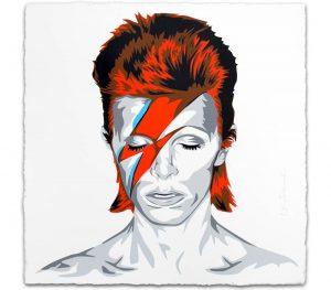 Portraitbild von David Bowies Gesicht mit rotem Blitz