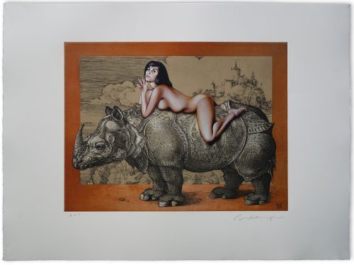 Mel Ramos - Leta on Durer's Rhino, 2016