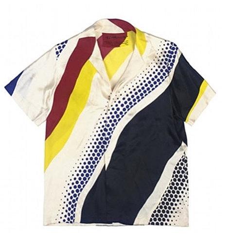 Polohemd mit schwarz-rot-gelb gestreifetem Muster - ROY LICHTENSTEIN 1979