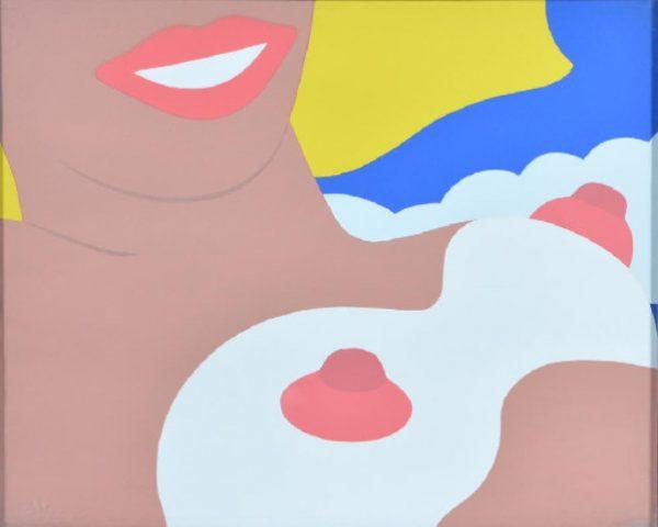 Pop-Art Zeichnung einer oberkörperfreien Frau - TOM WESSELMANN 1966
