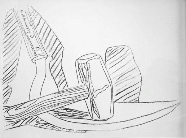 Bleistiftskizze von Hammer und Sichel