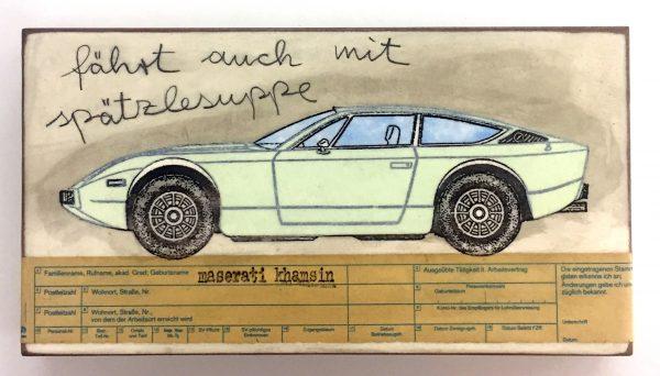 Bild eines Sportwagens im Comicstil mit Aufschrift