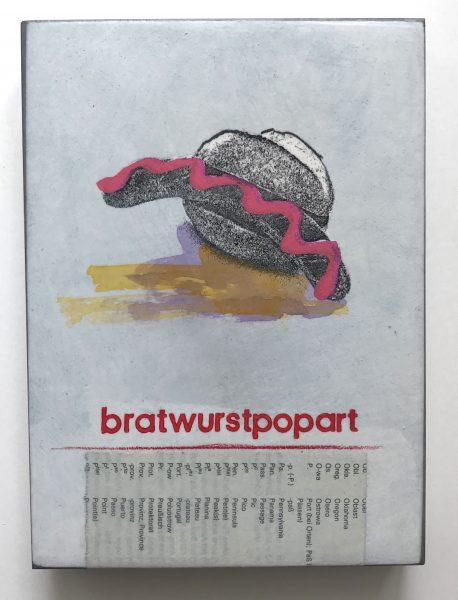 Popart-Bild eines Bratwurstbrötchens mit pinkem Senf und gelbem Schatten.