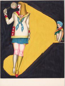 Bild einer flanierenden, langhaarigen Frau mit großem Lollipop vor gelb-schwarzem Hintergrund