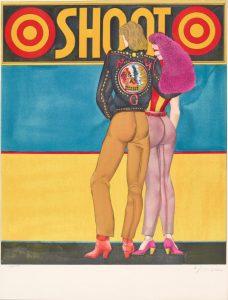 Bild eines Pärchens von hinten, vor blau-gelbem Hintergrund, übertitelt mit