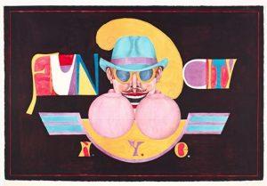 Bild eines Hut und Sonnenbrille tragenden Mannes, der lachend auf zwei Brüste blickt, Schriftzug