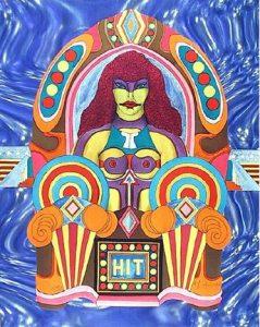 Abstraktes Bild einer roboterartigen Frau in einer Jukebox, auf der unten