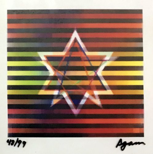 Yaacov Agam Two Stars (Small) - Rainbow Agamograph