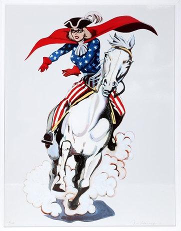 Bild einer in USA-Flaggenfarben gekleideten Reiterin mit Zorromaske auf einem Pferd.