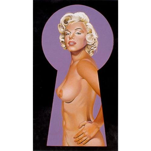 Silhouette eines Schlüssellochs mit Blick in ein violettes Zimmer, in dem Marilyn Monroe nackt zu sehen ist.