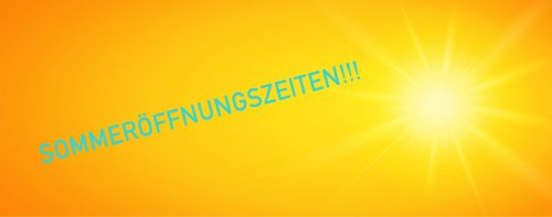 Grafik Sommeröffnungszeiten türkis auf gelb mit Sonne rechts daneben