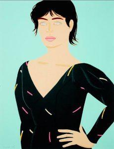 Bild einer blauäugigen Frau im schwarzen Kleid mit der Hand in die Hüfte gestützt