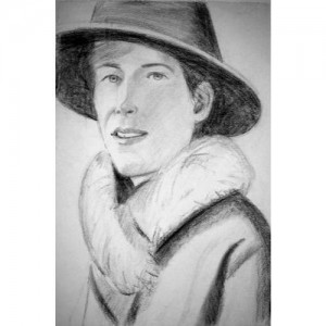 Bleistift-Zeichnung einer Frau mit Hut