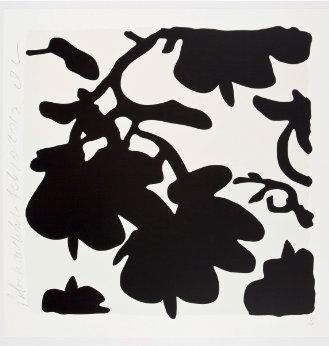 Blumenmuster schwarz auf weißem Hintergrund