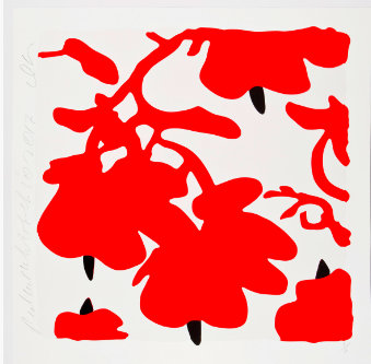 Blumenmuster rot-schwarz auf weißem Hintergrund