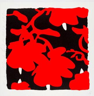 Blumenmuster rot-weiß auf schwarzem Hintergrund