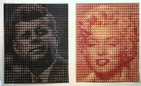 Zweiteiliges Bild: Portrait von John F. Kennedy in Schwarztönen links, Portrait von Marily Monroe in Rottönen rechts.