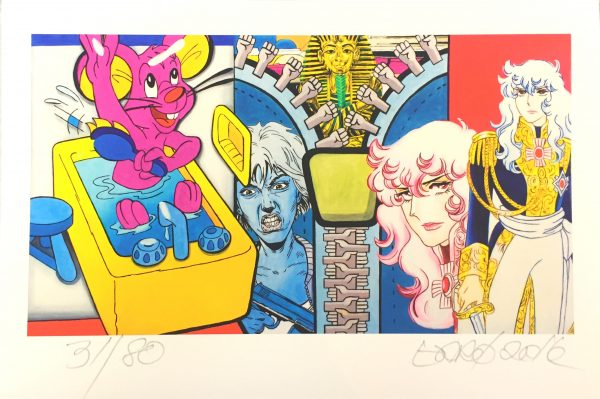 Fünfteiliges Bild mit Comic-Charakteren, links eine rosa Maus in der Badewanne