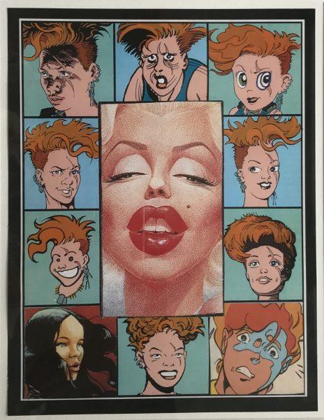 Persiflage von Marilyn Monroe, umrundet von anderen Comiccharakteren