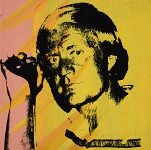 Portraitbild von Jack Nicklaus in schwarz vor orange-gelbem Hintergrund