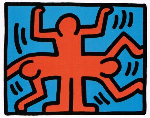 Siebdruck der Umrisse dreier tanzender Personen, rot auf blau.