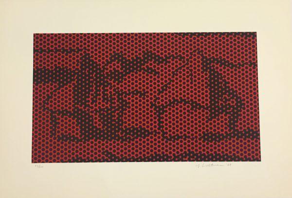 Abstraktes Gemälde: Umrisse Heuhaufen aus braunen Punkten auf rotem Hintergrund