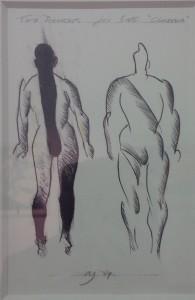 Schwarzweißskizze zweier Personen von hinten