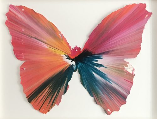 DAMIEN HIRST Butterfly Spin Painting, 2009_damienhirst_usa_flowers_butterfly_animals_artbasel_new_gallery_newyork_moma_tiere_fly_artnet_artprice_artsy_galeriehafenrichter_alexkatz_munic_museum_ludwig_love_present_mickeymaus