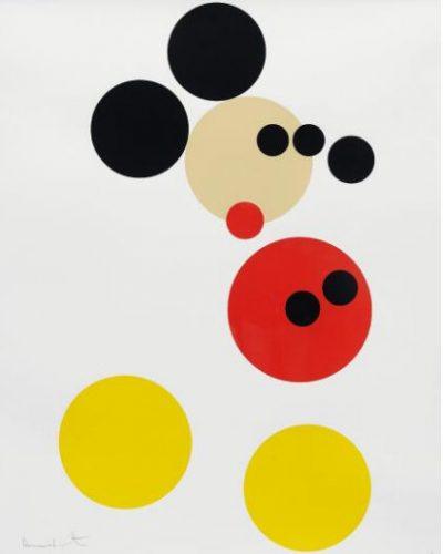 Abstrakte Darstellung von Mickey Mouse in farbigen Kreisen