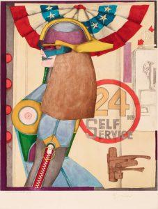 Abstraktes Bild einer roboterartigen Frau in Seitenansicht, dahinter ein Schloss an einer Türklinke und Schriftzug