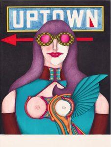 Abstraktes Bild einer Frau mit einer Art rosa Fliegerbrille, übertitelt mit